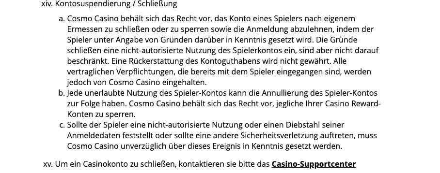 Cosmo Casino Konto Löschen